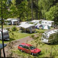 Fotografie eines Zeltplatzes mit Wohnmobilen und Zelten nahe eines Waldes.